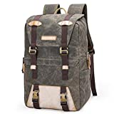 Vintage Canvas SLR Camera Backpack,Shockproof Waterproof Leisure Travel Bag Outdoor Camera Rucksack For Canon Nikon Sony 15.4-inch Laptop Tripod Lens And Accessories -31 17 45 cm Army gr