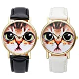 Top Plaza Big Eye Cat Face Animal Dial Non Scale PU Leather Band Analog Quartz Wrist Watch-Pack of 2