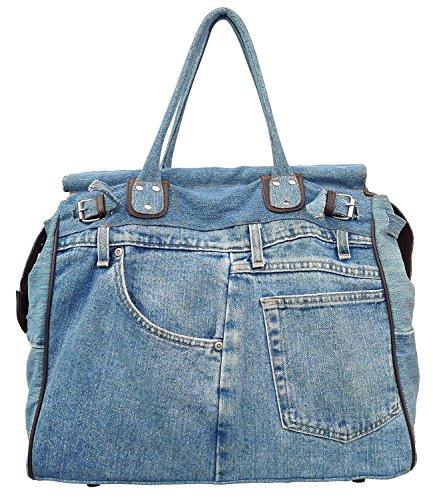Bijoux De Ja X-Large Blue Denim Double Top Handle Tote Shopper ()