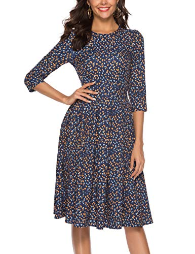 Simple Flavor Women's Floral Vintage Dress Elegant Midi Evening Dress 3/4 Sleeves (0608Blue, L)
