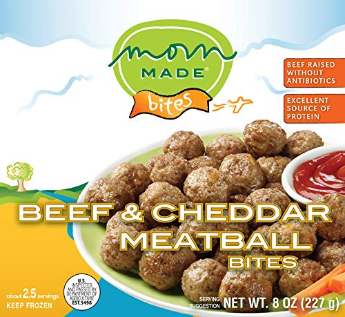 Mom Made Meatballs - Beef & Cheddar Meatballs, Antibiotic-free, Healthy frozen meals made in the USA, 8oz (8 pack)