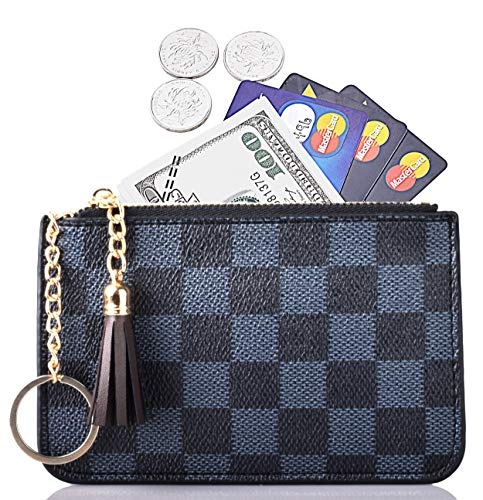 (Women Coin Purse Leather Change Credit Card Holder Wallet with Key Chain Tassel Zip Blue)