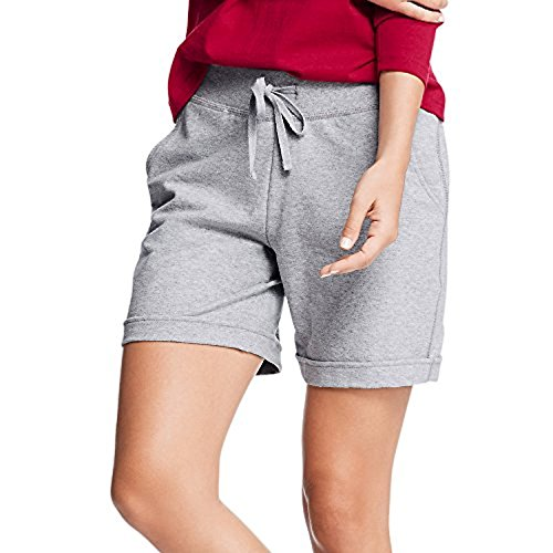Hanes Women's French Terry Bermuda Pocket Short, Light Steel, X-Large