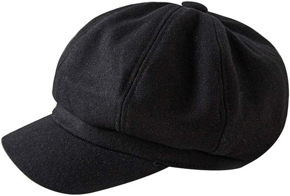 LDYQ Ballonm/ütze Damen Schirmm/ütze Barett M/ütze Weibliche L/ässige Baskenm/ütze Visor Damenm/ütze Winterm/ütze 8 Panels Cabbie Maler M/ütze f/ür Frauen Schwarz Bakerboy Hat