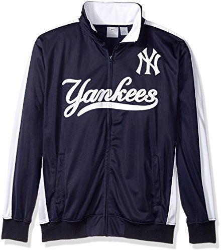 MLB New York Yankees Men's Big & Tall Track Jacket, 3X, Navy/White