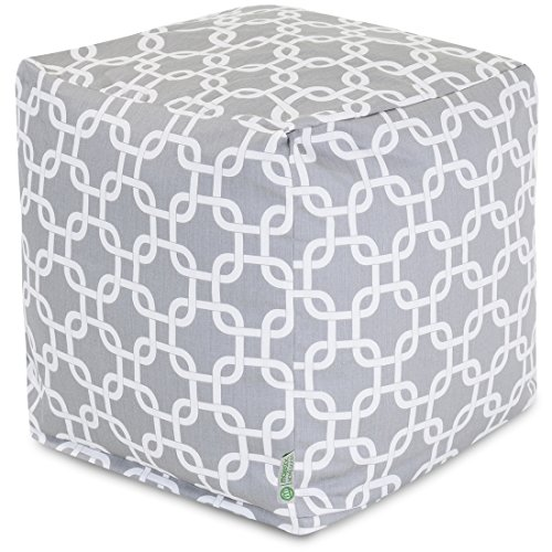 Majestic Home Goods Links Indoor / Outdoor Bean Bag Ottoman Pouf Cube, 17