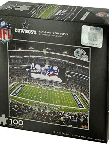 (Dallas Cowboys Puzzle with 6 Die Cut Logo Star Stickers 100 Pieces NFL Football Licensed in Box )