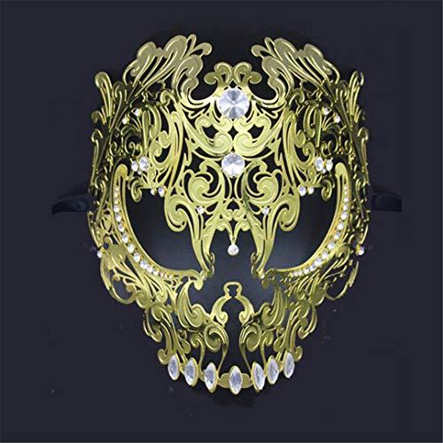 Silver Gold Scary Metal Filigree Laser Cut Skull Venetian Masquerade Mask Wedding Halloween Ball Costume Party Masks 23 ()