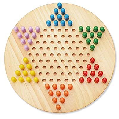 Wooka Chinese Checkers Set , Wooden Board and Traditional Pegs, Hand Crafted