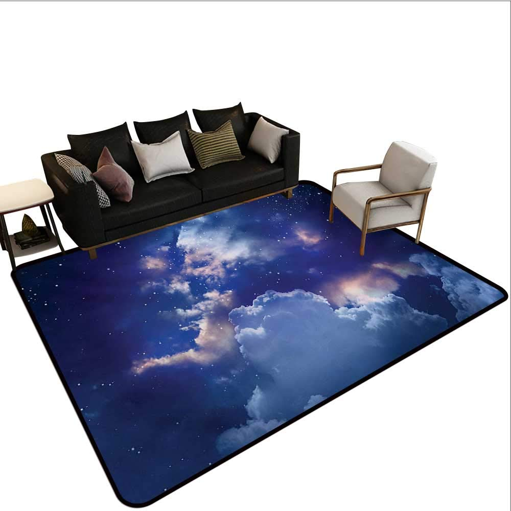 color01 W6'6 xL10' Decorative Floor mat,Night Sky on Mountain Range Forest Crescent Moon Star Cosmic Infinity Astral Graphic 6'6 x8',Can be Used for Floor Decoration