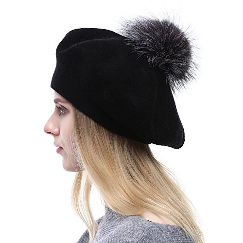 Women Wool Beret - Real Silver Fox Fur Pom Pom Beanies Winter Knit Cashmere Hats (Black)