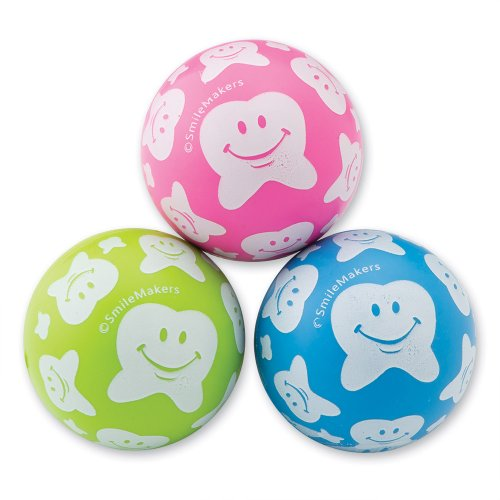 30mm Happy Tooth Scatter Print Bouncing Balls - Dental Prizes and Giveaways - 48 per pack - Happy Tooth