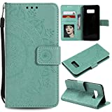 Galaxy Note 8 Floral Wallet Case,Galaxy Note 8 Strap Flip Case,Leecase Embossed Totem Flower Design Pu Leather Bookstyle Stand Flip Case for Samsung Galaxy Note 8-Green