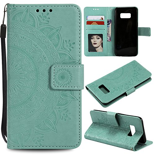 Galaxy S8 Plus (S8 +) Floral Wallet Case,Galaxy S8 Plus (S8 +) Strap Flip Case,Leecase Embossed Totem Flower Design Pu Leather Bookstyle Stand Flip Case for Samsung Galaxy S8 Plus (S8 +)-Green by Leecase