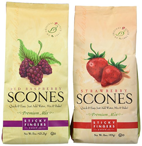 Sticky Fingers Bakery Scones - Sticky Fingers Bakeries Scone Variety Mix, Red Raspberry & Strawberry (Pack of 2)