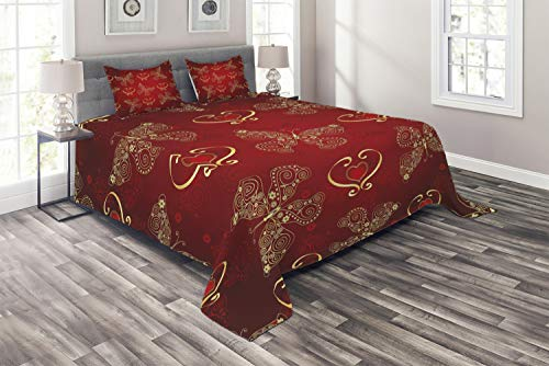 Lunarable Maroon Coverlet Set Queen Size, Valentines Day Romance Swirled Lines Ornate Lace Style Butterflies Hearts, 3 Piece Decorative Quilted Bedspread Set with 2 Pillow Shams, Yellow Vermilion