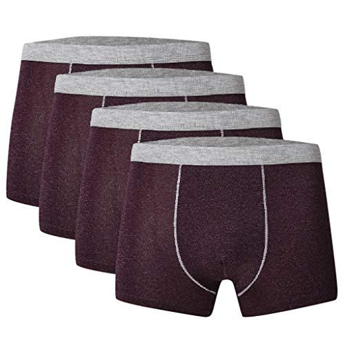 (Fastbot mens underwear,Boxer Briefs 4PC Breathable Ice Silk Stitching Sexy Comfort Red )