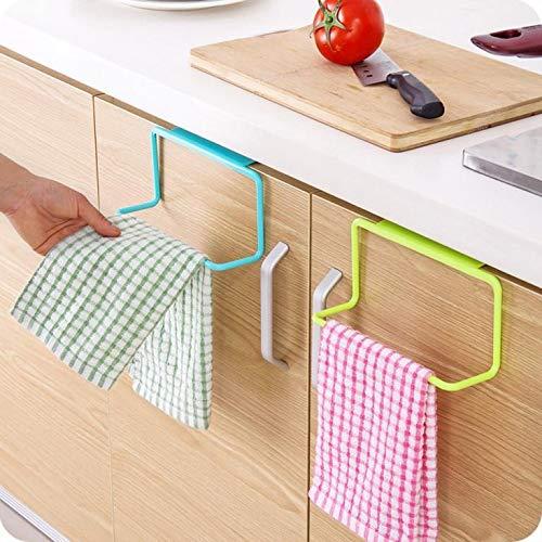HOLD+HIGH 1pc Towel Rack Hanging Holder Organizer Bathroom Kitchen Cabinet Cupboard Hanger (Green)