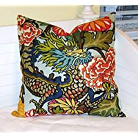 Athena Bacon Schumacher Chiang Mai Dragon in Aquamarine Designer Pillowcase Cover Design on One Side or Both Sides