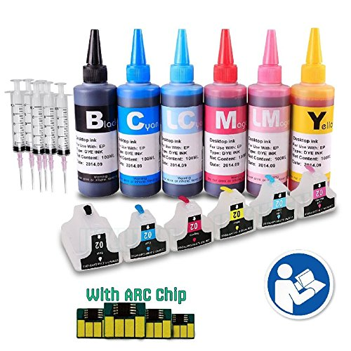INKUTEN - 6 EMPTY Refillable Cartridges for HP 02 Easy-to-refill with 6x100ml Dye ink, Resettable Chips, Syringes & Needles
