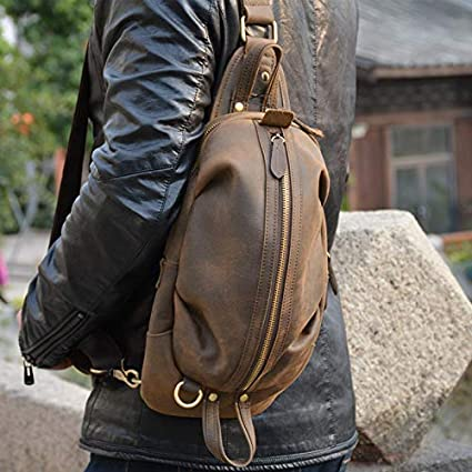 Luufan Hommes Sac /à bandouli/ère en cuir v/éritable sac /à bandouli/ère r/étro une /épaule 2way Durable Cross Body Bag Small Brown 1