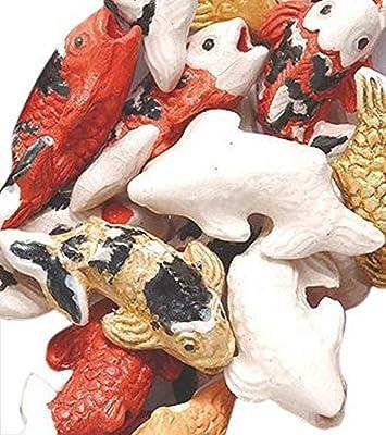 Peruvian 10 by 17mm Peruvian Hand Crafted Ceramic Koi Fish Beads Mix 10 per Pack