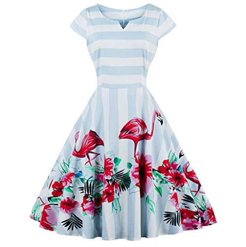 FAIRY COUPLE Vintage Rockabilly Flamingo Floral Cap Sleeves Casual Dress DRT019(XL, (Pink Flamingo Dress)