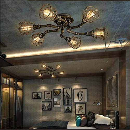 FidgetGear 6 Lights Rustic Industrial Cage Pipe Pendant Light Loft Chandelier Ceiling Lamp by FidgetGear (Image #3)