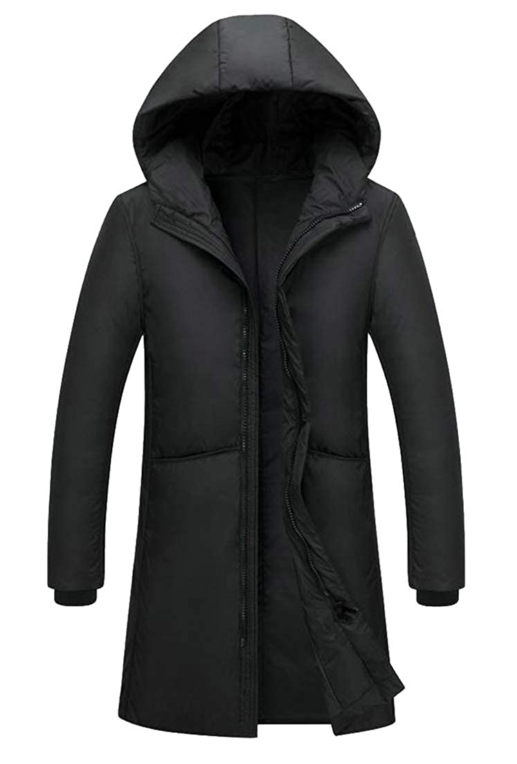 Lutratocro Mens Warm Packable Puffer Fall Winter Hooded Long Sleeve Mid-Length Down Coat