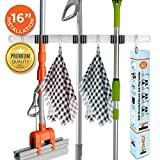 Homely Mop and Broom Holder Wall Mount | 16' No Slide Wall Stud Installation | Closet, Garage, Kitchen, Storage Organization Hanger with 3 Unit Clamps & 4 Utility Hooks | Mounted Tool Rack Organizer