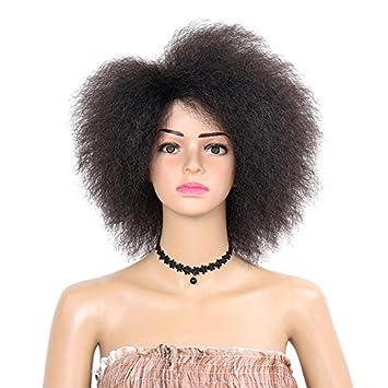Wig-Queen Sintético Corto Rizado Peluca Afro Kinky African American Fluffy Pelucas para Las Mujeres