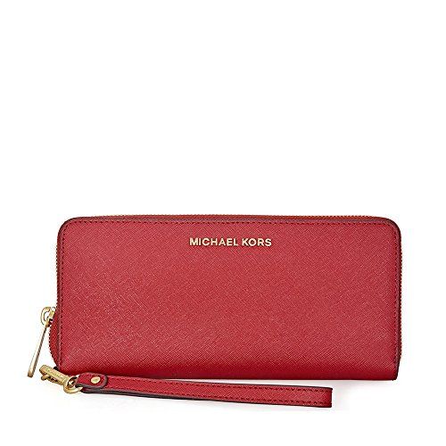 Michael Kors Jet Set Travel Leather Continental Wallet- Burnt Red by Michael Kors