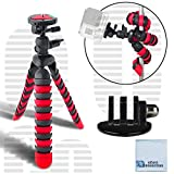 12' Inch Flexible Tripod w/ Wrapable Legs. Quick Release Plate for Great for All GoPro HERO Cameras + Tripod Mount & an eCostConnection Microfiber Cloth