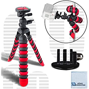 "12"" Inch Flexible Tripod w/ Wrapable Legs. Quick Release Plate for Great for All GoPro HERO Cameras + Tripod Mount & an eCostConnection Microfiber Cloth"