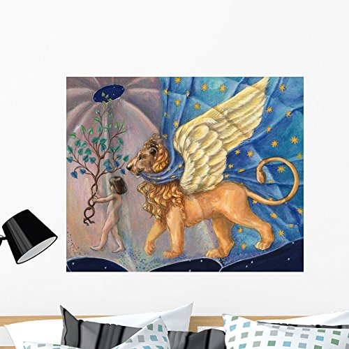 Wallmonkeys Child and Winged Lion Wall Mural by Peel and Stick Graphic (36 in W x 30 in H) WM114702 (Winged Graphic)
