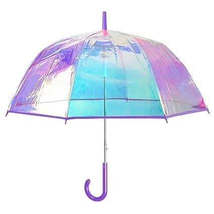 Paraguas Transparente Iridiscente Mujer - Largo y Automatico ...