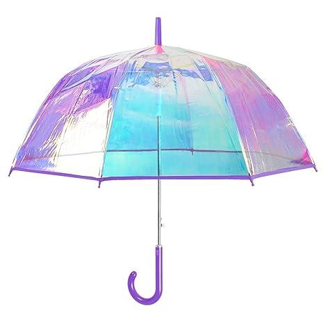 Paraguas Transparente Iridiscente Mujer - Largo y Automatico con Cúpula Burbuja Que Cambia de Color -