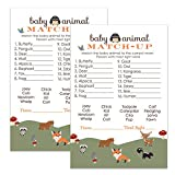 Paper Clever Party Woodland Animal Match Baby Shower Game | 25 Pack