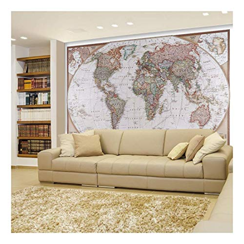 Peel and Stick Wallpapaer Collage Removable Large Wall Mural Creative Wall Decal ( Antique Political Mollweide Map Projection)