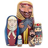 """Bits and Pieces - Holy Family Nesting Dolls - Matryoshka Dolls - Russian Nesting Dolls - Hand-Painted Hand-Made Wooden Nativity Family Figurines - Stacking Dolls Set of 5 Dolls from 5.5"""" Tall"""