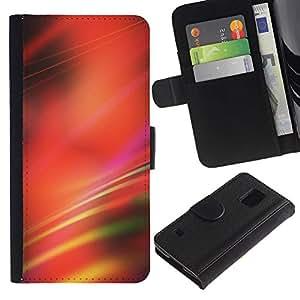 WINCASE (No Para S5 Mini) Cuadro Funda Voltear Cuero Ranura Tarjetas TPU Carcasas Protectora Cover Case Para Samsung Galaxy S5 V SM-G900 - líneas rojas borrosas negro abstracto