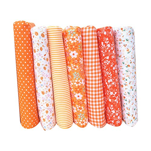 (Topbeu Floral Fabric Cotton Cloth for Sewing Patchwork Quilt Handmade DIY Handcrafts, Assorted Pattern, Square (Orange, 20
