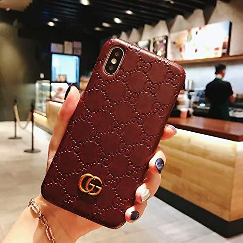 Phone Case for iPhone 8 Plus, Phone Case for iPhone 7 Plus, Brown Luxury Vintage Designer Monogram Leather Back Case for iPhone8 Plus/ iPhone7 Plus