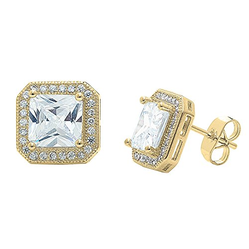 Cate & Chloe Londyn 18k Gold Plated Princess Cut CZ Halo Stud Earrings, Sparkling Cluster Stud Earring Set w/Solitaire Princess Gemstone, Wedding Anniversary Jewelry MSRP - $150 (Yellow Gold) by Cate & Chloe