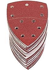 S&R Schuurpapier set voor deltaschuurmachine 105 mm x 152 mm (93 x 93 x 93 mm), 60 stuks schuurdriehoeken, klittenbandslijpschijven 11 gaten: 10*P40, 10*P60, 10*P80, 10*P120, 10*P180, 10*P240, ook voor multischuurmachine