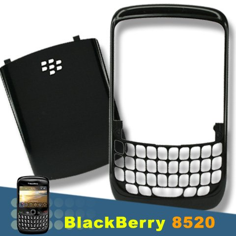 BLACKBERRY CURVE 8520 8530 OEM BLACK FACE FRONT FACEPLATE+BATTERY BACK HOUSING COVER (Blackberry 8520 Curve Cover)