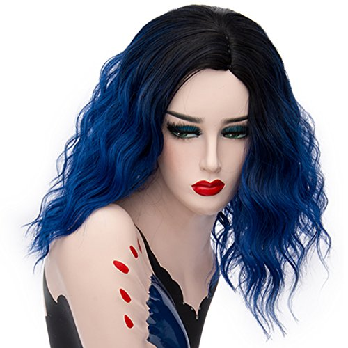[Alacos 35cm Fashion Black Dark Roots Ombre Short Curly Bob Christmas Daily Costumes Wig for Women +Wig Cap (Royal Blue)] (Woman In Labor Costume)