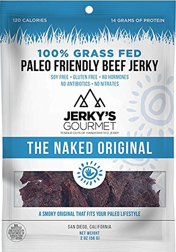 Jerky's Gourmet 100% Grass-Fed The Naked Original (Soy Free) Beef Jerky, Pack of 3