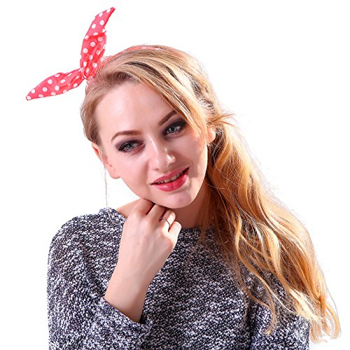 HDE Women's Retro Rockabilly Headband Vintage Styled Rabbit Ear Wired Hair Bow