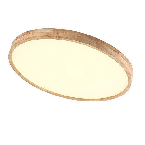 Regulable LED Lámpara de techo, madera moderno plafón, Mesas redondo Diseño Techo de iluminación, creativos de luces para salón dormitorio, 36 W Con ...